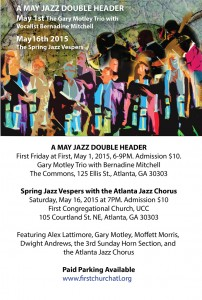 A May Jazz Double Header @ First Church Commons | Atlanta | Georgia | United States
