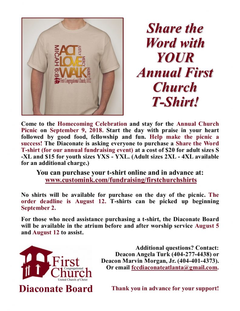 Diaconate T-Shirt Fundraiser 2018