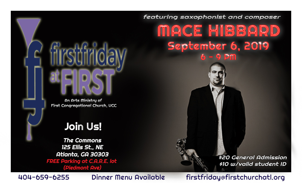 First Friday at First September 2019 with Mace Hibbard