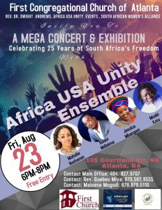 "South African Women's Alliance ""A Mega Concert & Exhibition "" @ First Congregational Church - Sanctuary"
