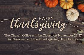 Church Office Closed in Observance of Thanksgiving