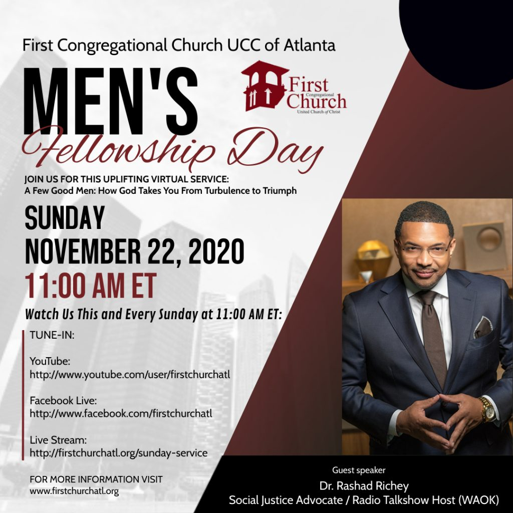 Men's Fellowship Day: Sunday, November 22, 2020